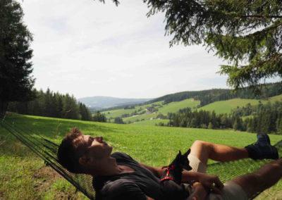 Mann und Hund entspannen in der Hängematte mit Ausblick auf die Region Joglland-Waldheimat