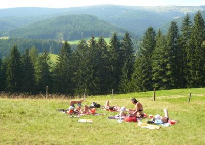 Gäste entspannen in der Wiese bei Urlaub am Bauernhof Grabenhofer