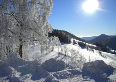 Ausblick auf die schneebedeckte Landschaft in der Region